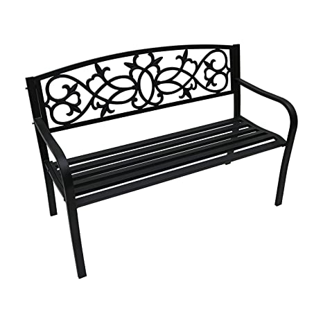 Terrific Oypla 2 Seater Black Metal Outdoor Garden Bench Seat Patio Park Chair Bralicious Painted Fabric Chair Ideas Braliciousco