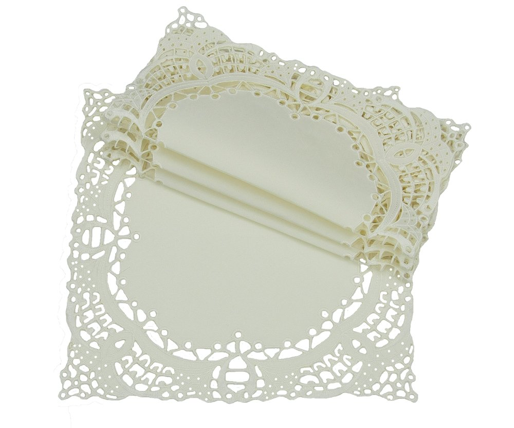 Xia Home Fashions Dainty Lace Square Doily, 12-Inch, Ivory, Set of 4