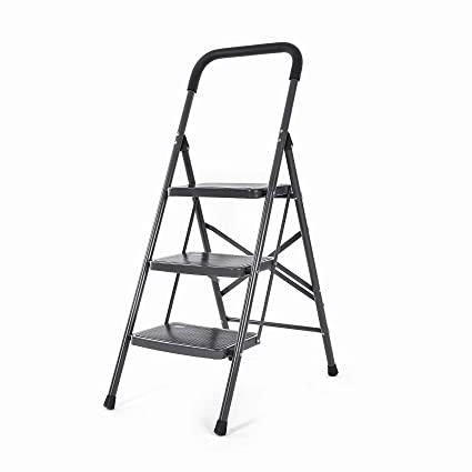 Bathla 3 Step Up Steel Foldable Ladder (Black)