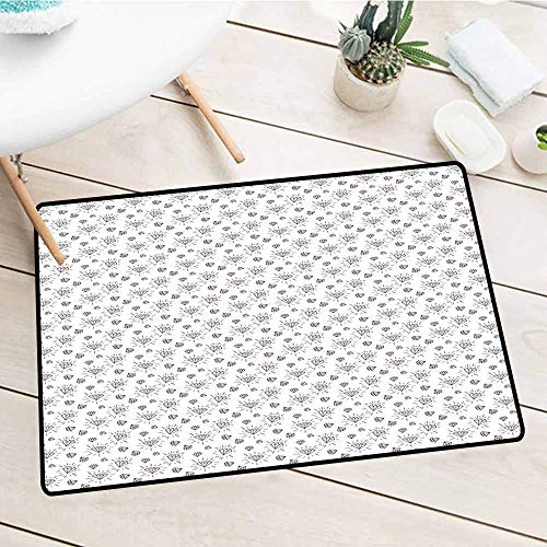 - NineHuiTechnology Customed Entrance Welcome Mats, Diamonds, Hand Drawn Doodle Style Crystal Concept with Chevron Zigzag Stripes and Triangles, 24