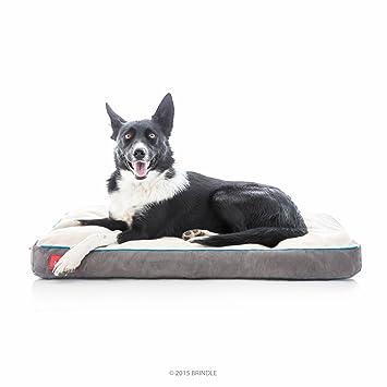 Brindle Cama de Perro de Espuma de Memoria Suave con Cubierta Desprendible Lavable Khaki 34in x