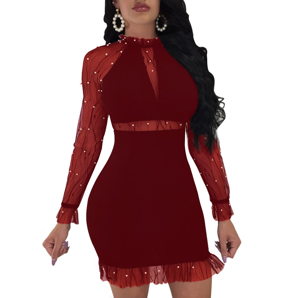 28e9ecae77a69 Dreamparis Women s Sexy Mesh Patchwork Bodycon Dress Pearl Beaded Long  Sleeve Stand Collar Bandage Mini Dress at Amazon Women s Clothing store