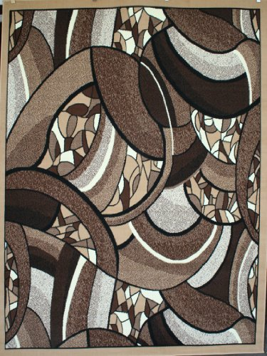 Generations Brand New Contemporary Brown and Beige Modern Square and Circles Area Rug 5'2 x 7'3