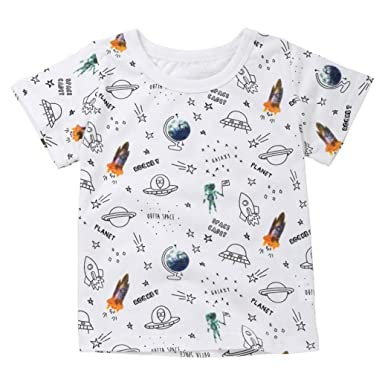 77970187c47 Amazon.com  G-real Baby Boys Toddler Kids Summer Cartoon Rocket Space Print  T-Shirt Tops Casual Pullover for 2-7T  Clothing