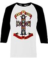 Guns N Roses AFD Appetite For Destruction Raglan Baseball T-Shirt White