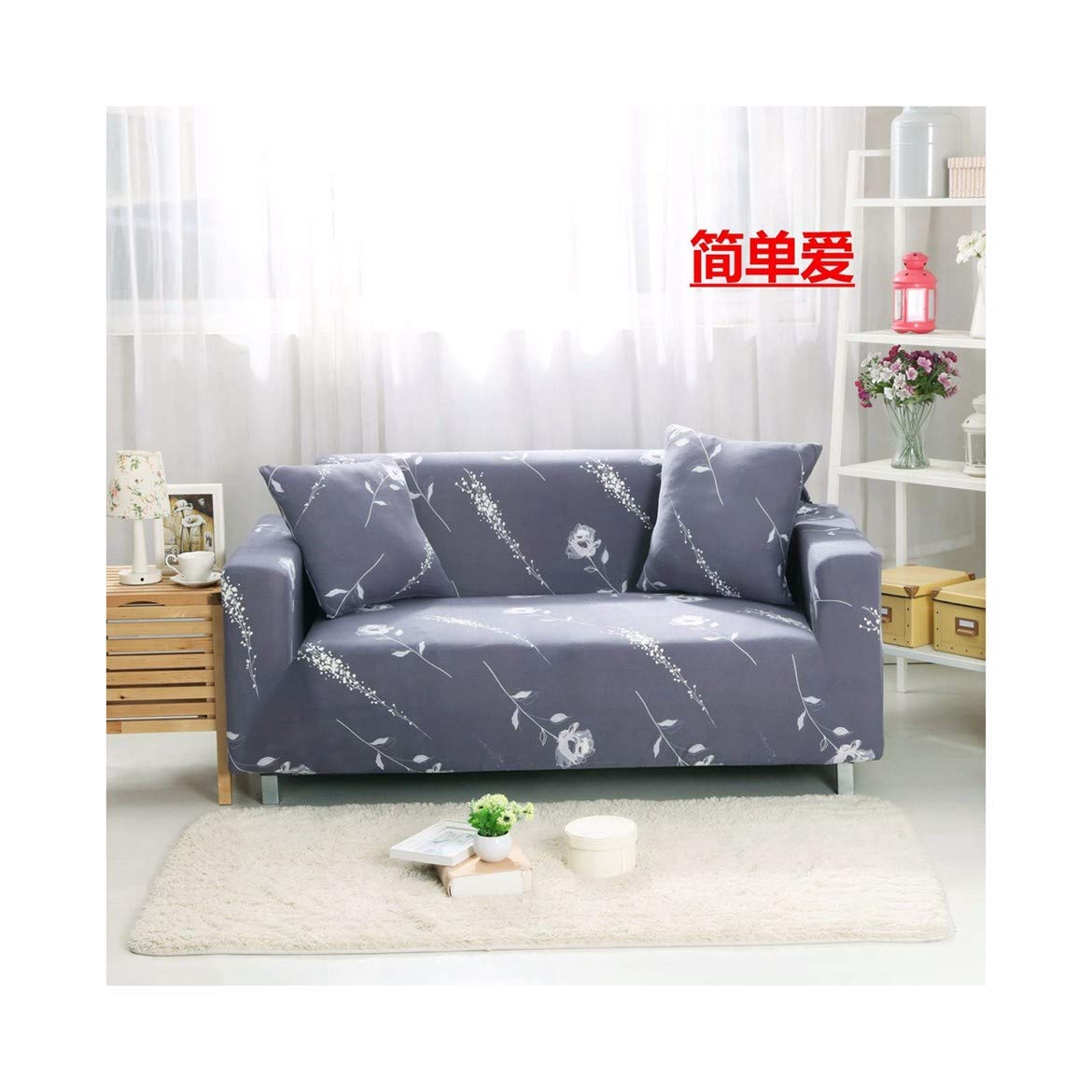 4seat VGUYFUYH Flower Patterns Seasons Universal Sofa Cover Polyester Full Package Elasticity Home Universal Sofa Cover Simple Fashion One Piece Durable Dust-Proof Pet Dog Predective Cover,4Seat