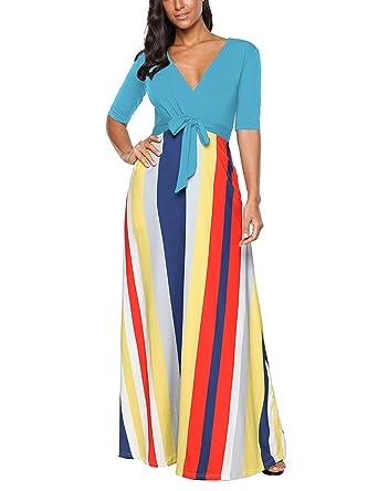 d97f8290a2e EverChic Women s V Neck 3 4 Sleeve Digital Floral Printed Party Loose Long  Maxi Dress