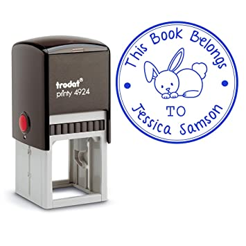 Blue Ink Self Inking Personalized Teacher Stamp This Book