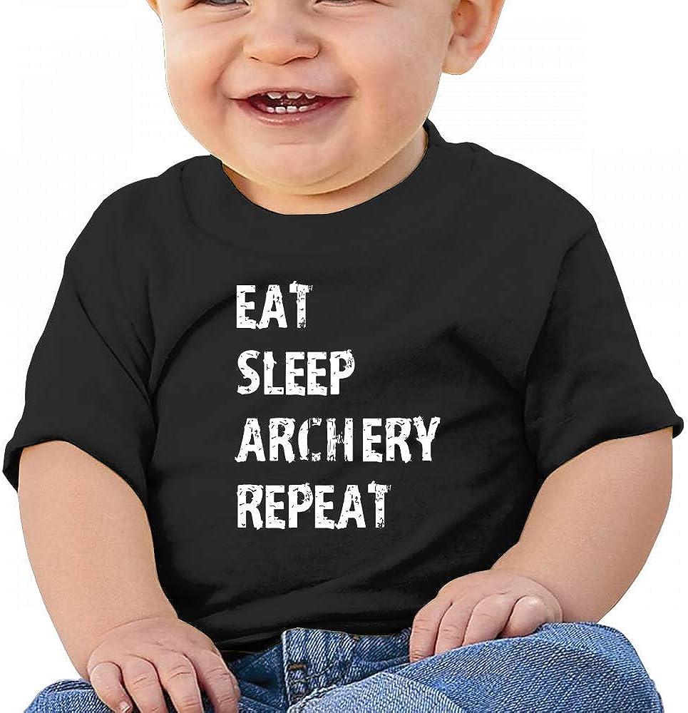 HTUAEUEHRH Archery Eat Sleep Archery Baby Boys Toddler Short Sleeve T-Shirts Tees