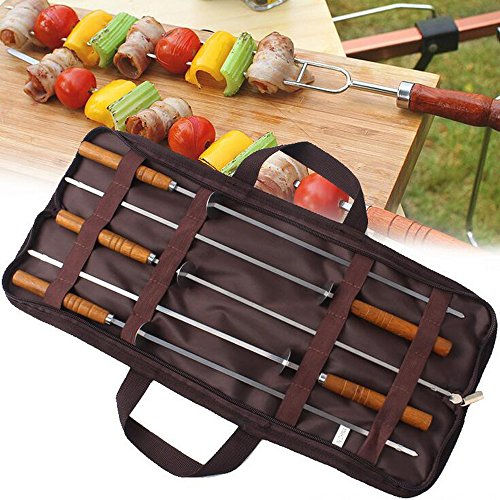 Ezyoutdoor Pack of 5 Pieces Stainless Steel Barbecue Needles Wood Handle Barbecue Accessories Camping Cooking Tools with Carry Bag