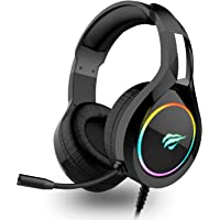 havit RGB Wired Gaming Headset PC USB 3.5mm XBOX / PS4 Headsets with 50MM Driver, Surround Sound & HD Microphone, XBOX One Gaming Overear Headphones for Computer and More, Black (H2011d)