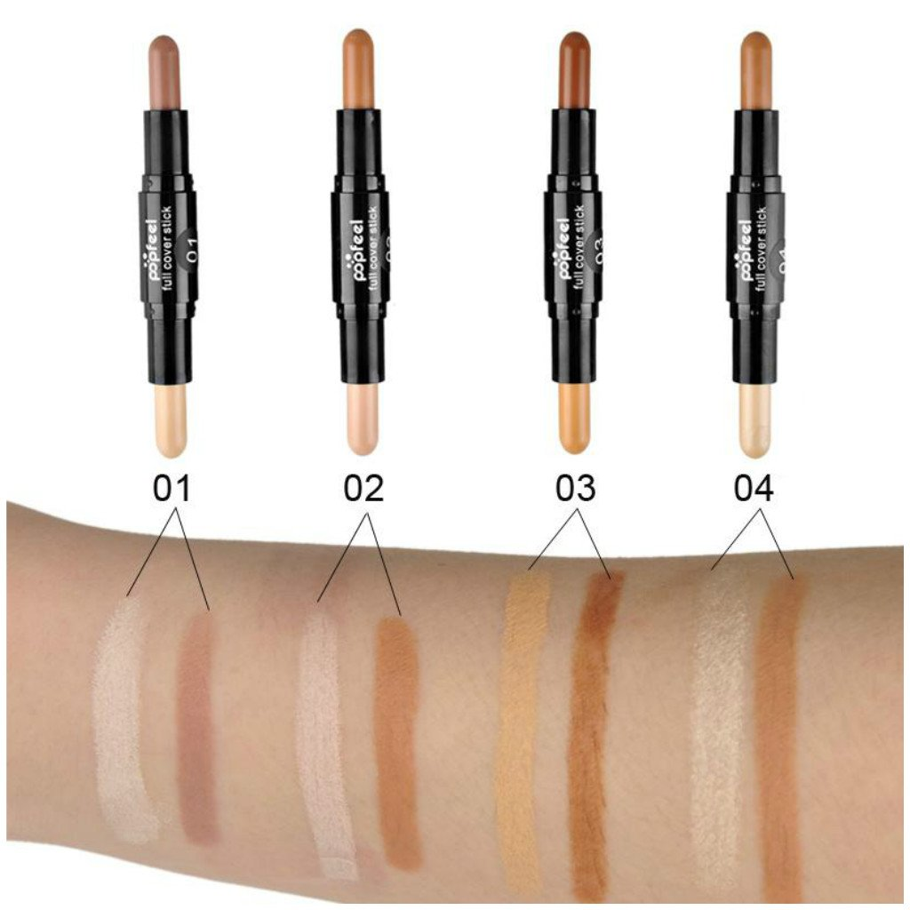 MagiDeal 4pcs Double-ended Natrual Makeup Cream Face Eye Foundation Highlight Contour Sticks Blemish Dark Circle Spots Cover Concealer Pen Set