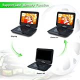 SYNAGY Portable DVD Player with 10.1 Inch HD Swivel Screen, Car Mount Holder, Remote Control, with Built-in Rechargeable Battery,Car Charger and Power Adaptor Support CD/DVD/VCD/SD