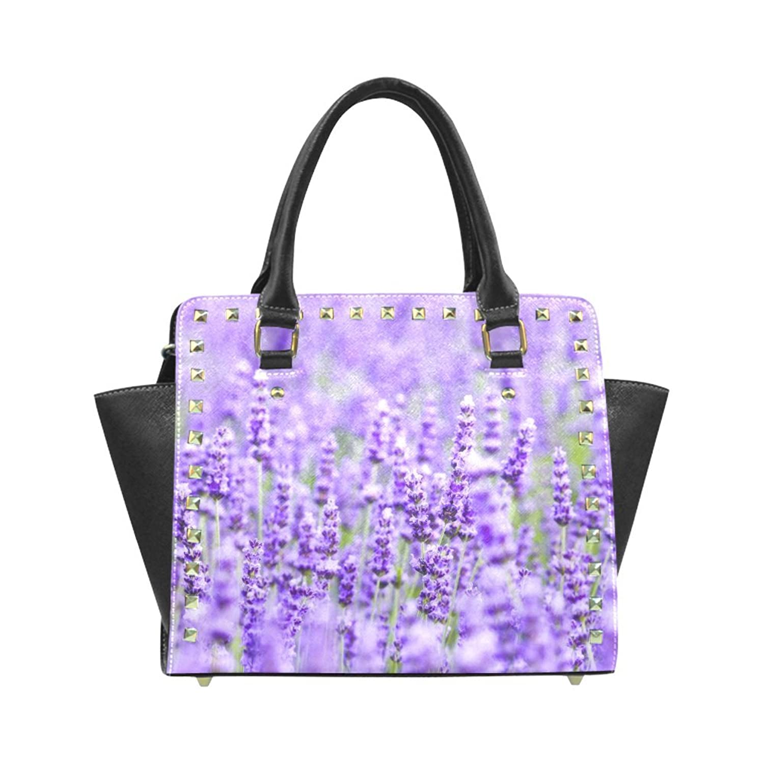 InterestPrint Custom Lavender Flowers Rivet Shoulder Handbag/Tote Bag/Travel Bag for...
