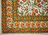 French Floral Tapestry Cotton Bedspread 106'' x 70'' Twin Amber Green
