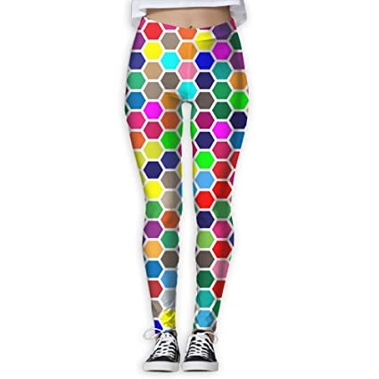 Colorful Hex Grid Pattern Women S Full Length Yoga