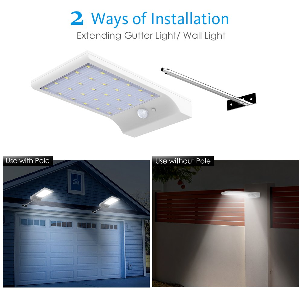 InnoGear 30 LED Solar Lights Outdoor LED Motion Sensor Gutter Light Security Lighting Wall Sconces with Mounting Pole for Barn Porch Garage Yard, Pack of 2