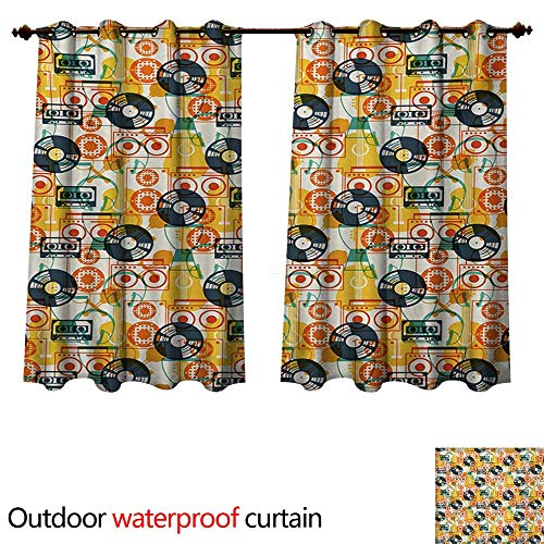 WilliamsDecor Music Outdoor Curtains for Patio Sheer Pattern with Musical Instruments in Flat Design Style Cassette Radio Vinyl Nostalgic W63 x L72(160cm x 183cm)