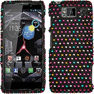 Rainbow Dots Pink Blue Purple Bling Rhinestone Crystal Case Cover Diamond Skin Faceplate For Motorola Droid Razr Maxx Max Hd Razor 926M with Free Pouch