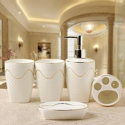 YWXG Stile Europeo Ceramica Semplice Tuta da Bagno 5 Pezzi Set di Accessori da Bagno Tazza spazzolino Set di Accessori da Bagno Completo Portaspazzolini Dispenser per Sapone Portasapone Rinse Cup