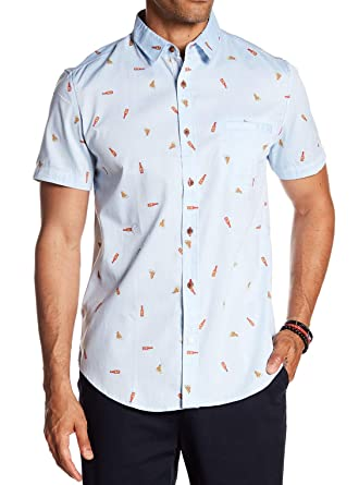 2018a084b Sovereign Code Mens Small Pismo Patterned Short Sleeve Shirt Blue S ...