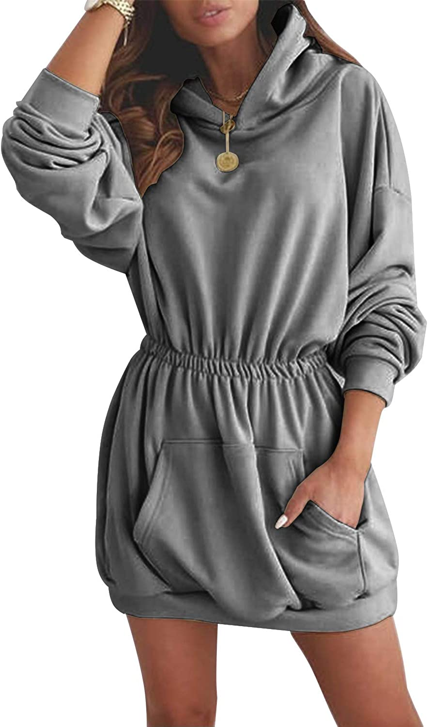 Nirovien Womens Long Sleeve Hoodie Dress Solid Waist Ruched Pullover Tunic Sweatshirt with Pockets