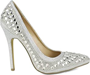 2b045f58644 Celeste Tanya03 Rhinestones Covered Women Dress Pump in Silver