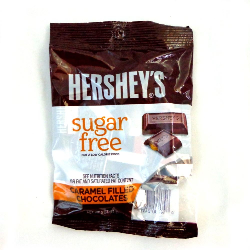 Hershey's Sugar-Free Milk Chocolate Caramel Filled, 3-Ounce Bags (Pack of 12) by HERSHEY'S