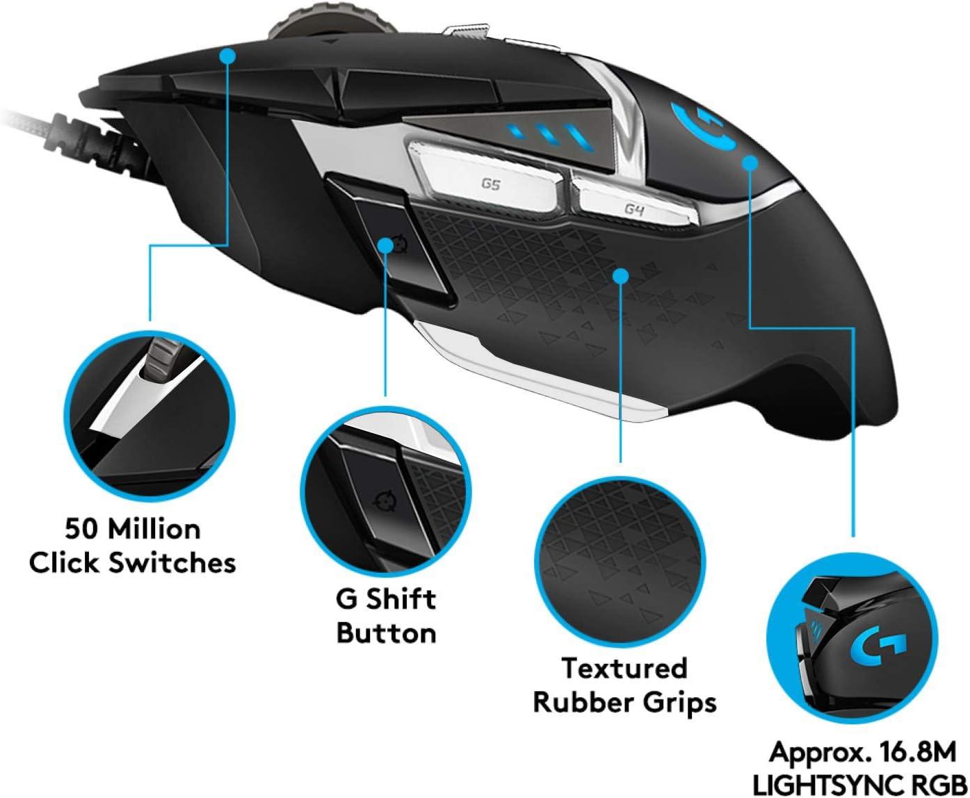Long Battery Life Black Hero 16K Sensor On-Board Memory 11 Programmable Buttons 16,000 DPI RGB PC//Mac Logitech G502 Lightspeed Wireless Gaming Mouse Adjustable Weights