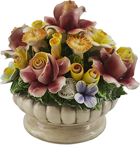 Capodimonte Authentic Italian Multi Flower Blooming Bouquet Colorful Display