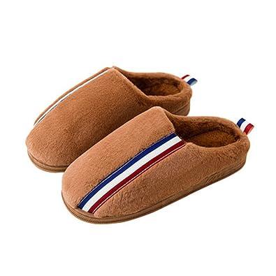 Hausschuhe Hause Warm Herren Baumwolle Winter Innen Slip Weiche Verdickung Schuhe (Farbe : Braun, Größe : EUR:40-41)