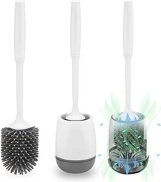 mis à niveau Popten Silicone Toilette Brosses et Holder Set Avec Séchage Rapide titulaire