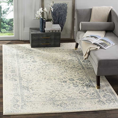 Safavieh Adirondack Collection ADR109S Ivory and Slate Oriental Vintage Distressed Area Rug (8' x 10')