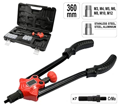 3.2 4.8 6.4 mm Hebelnietzange Blindnietzange Profi Nietzange-Set L/änge 310 mm mit Nieten 2.4 4.0