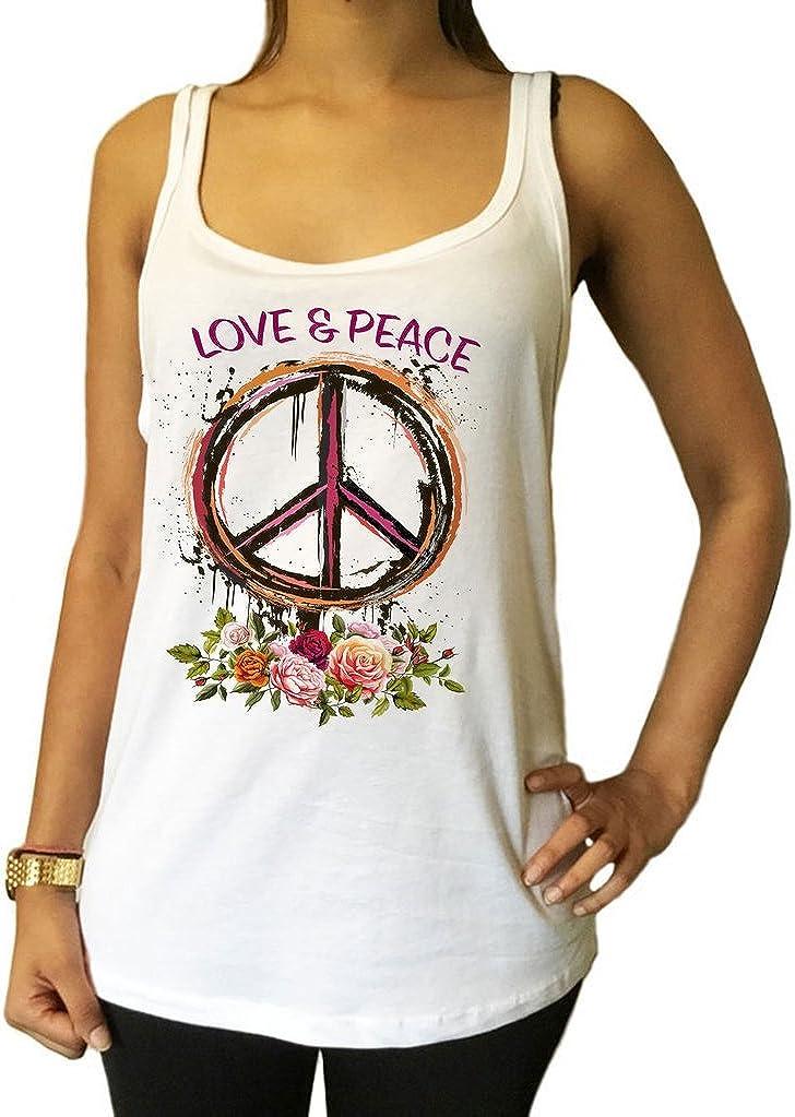 Fleurs Imprimer JTK1434 Irony D/ébardeur en Jersey CND Love and Peace Roses