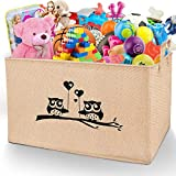 Gimars X-Large Well Standing 26' L x 15'W x 15'H Collapsible Canvas Owl Toy Chest Box Baskets Storage Bins for Dog Toys, Kids, Children Toys, Blanket, Clothes - Nice for Playroom Living Room, Shelves