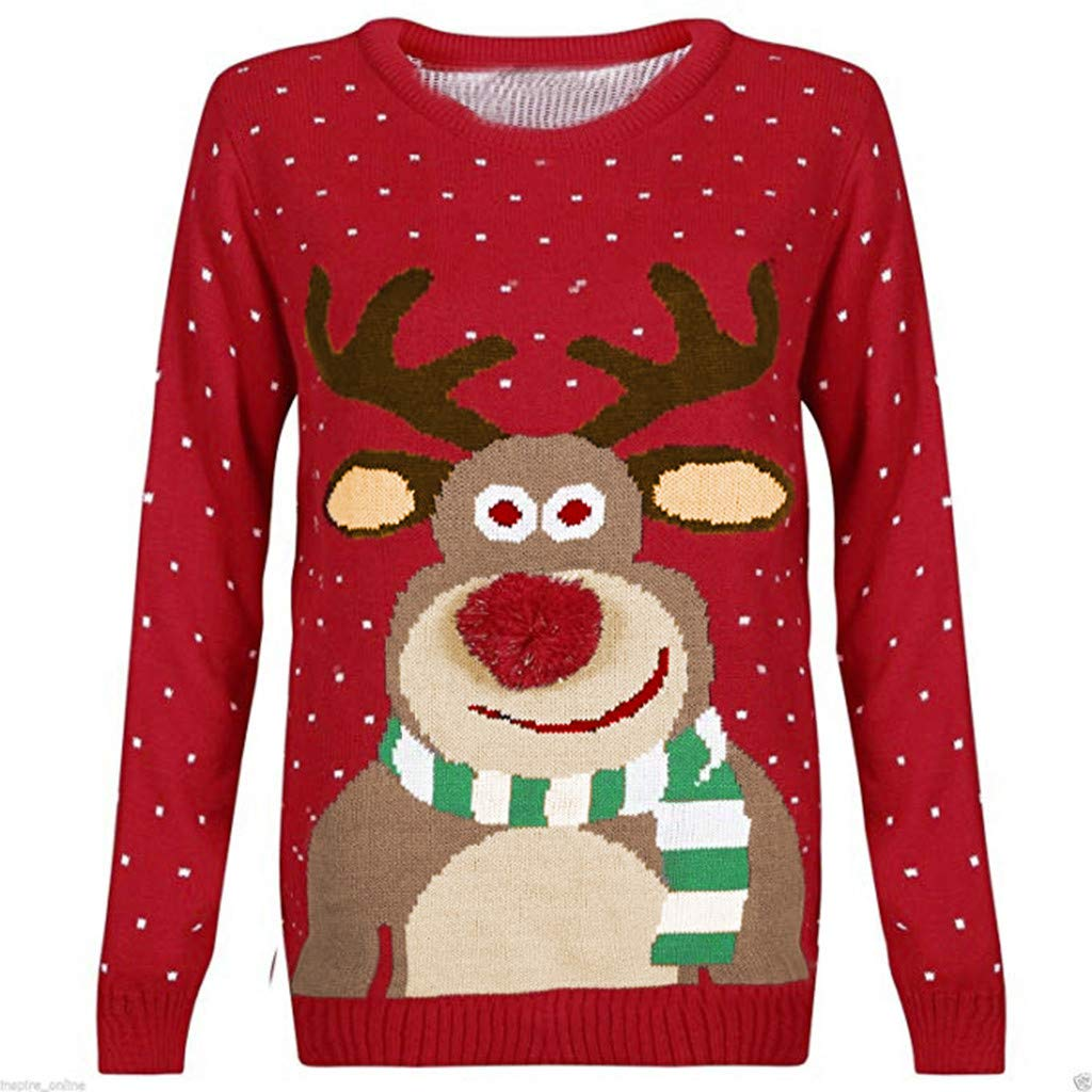 STORTO Women Christmas Ugly Sweater Long Sleeve Cute Reindeer Knitted Jumper Pullover Tops