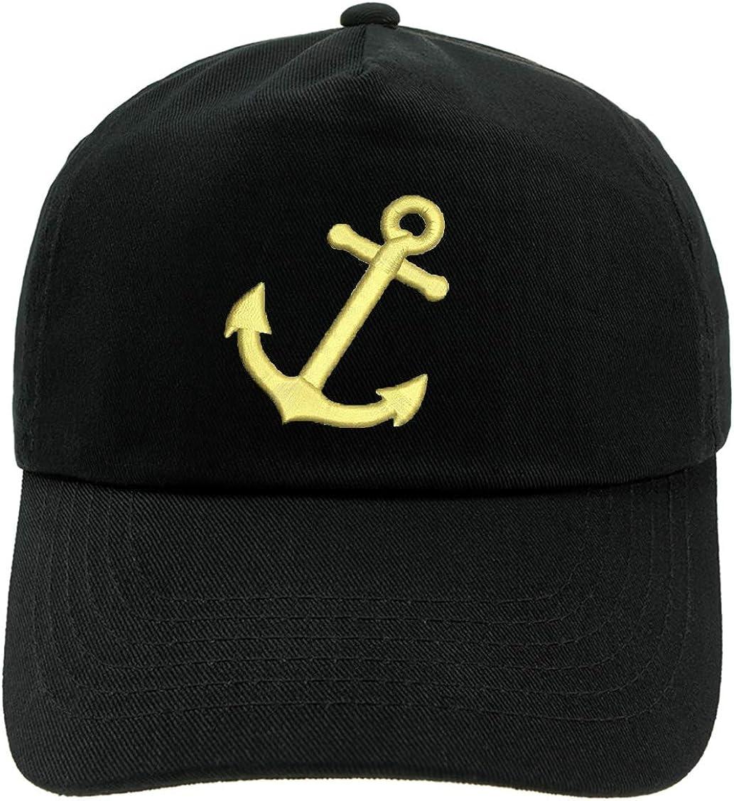 Anchor,adultoo 4sold Ni/ños Hombres Mujeres 100/% Algod/ón Yachting Gorra de b/éisbol Inscripci/ón Inscripci/ón Capit/án de b/éisbol Sombrero para el Sol Sombrero de Verano Oro Negro