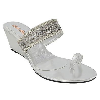 ESSEX GLAM Damen Silber Sandalette T-Spangen Zehentrenner mit gehäuften Strasssteine EU 42 rcUFBuaWYR
