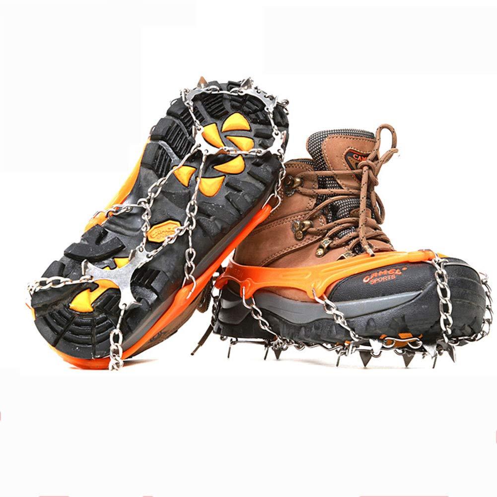 KANGLE EIS- Und Schneetraktions-Stollen Universal Slip-On Stretch-Passform Snow Ice Spikes Griffe Steigeisen Zum Wandern, Klettern, Wandern, Eisfischen, Etc.