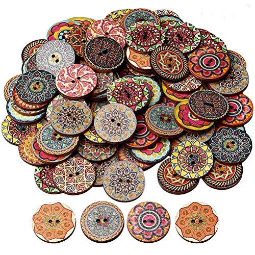 HSAN 100 Pcs Wood Buttons, Mixed 2 Holes Buttons 1 Inch Buttons Vintage Assorted Buttons Decorative Buttons Flower Buttons Round Buttons for DIY Sewing Craft (Craft Wood Assorted)