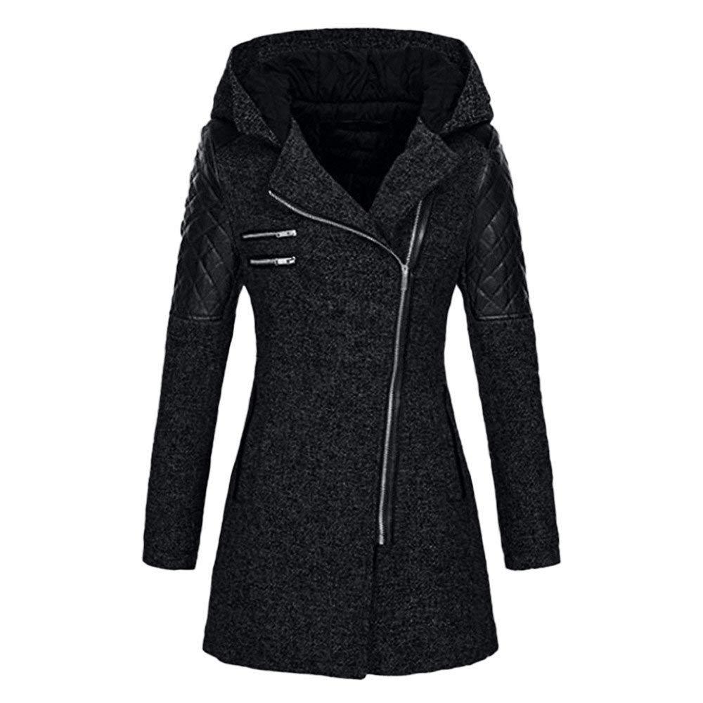 Rmeioel Plus Size Women Warm Slim Oversize Solid Jacket Thick Parka Overcoat Winter Outwear Hooded Zipper Coat Black by Rmeioel