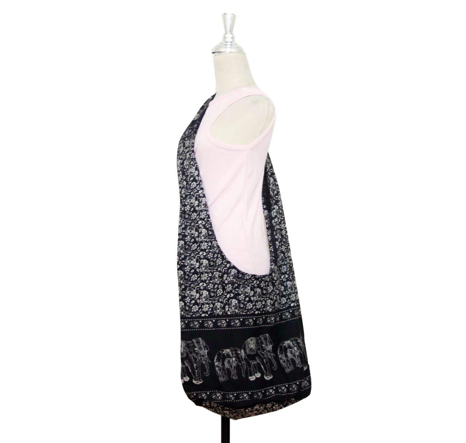 Hippie Elephant Sling Crossbody Bag Purse Thai Top Zip Handmade Black S11 by Thai Hippie Bag (Image #1)