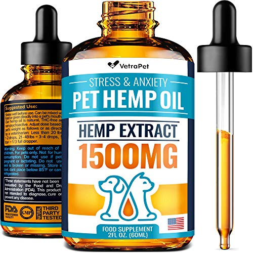 Hemp Oil For DOGS and CATS - 1500 MG - Natural HEMP Extract and Hemp Oil for Pets - Made in USA - Best for Dog Anxiety, Pain Relief and Joint Support for Dogs - Pet Omega 3, 6, 9 - Order RISK-FREE