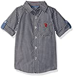 U.S. Polo Assn. Boys' Big Boys' Long Sleeve Single Pocket Sport Shirt, Soft Black, 18