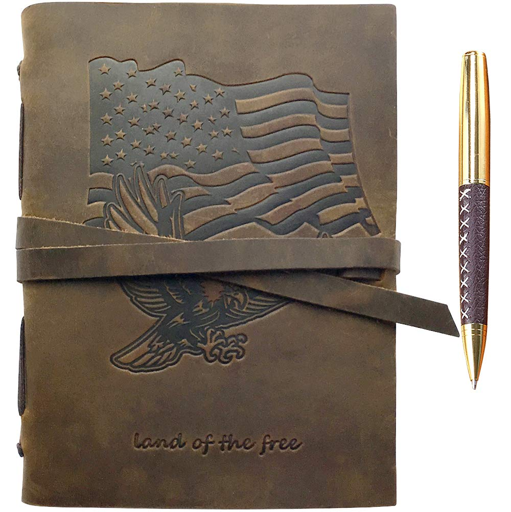 Patriotic Gift American Flag & Eagle Leather Journal Notebook Notebook USA Flag/Eagle Embossed Design Handmade Travel Diary, A5 Vintage Writing for Men For Women Real Antique Rustic Leather 6''x8'' +Pen by Sovereign-Gear