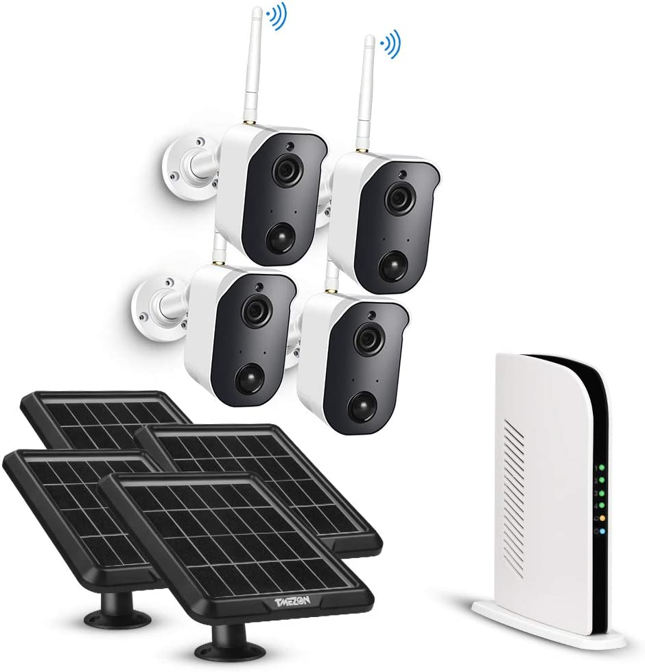 Wireless Security Camera System Battery Solar Powered Rechargeable Panel Night Vision WiFi Camera Outdoor 4CH NVR kit 1080p 2-Way Audio Wall Mount with 128G TF Card PIR Motion Sensor