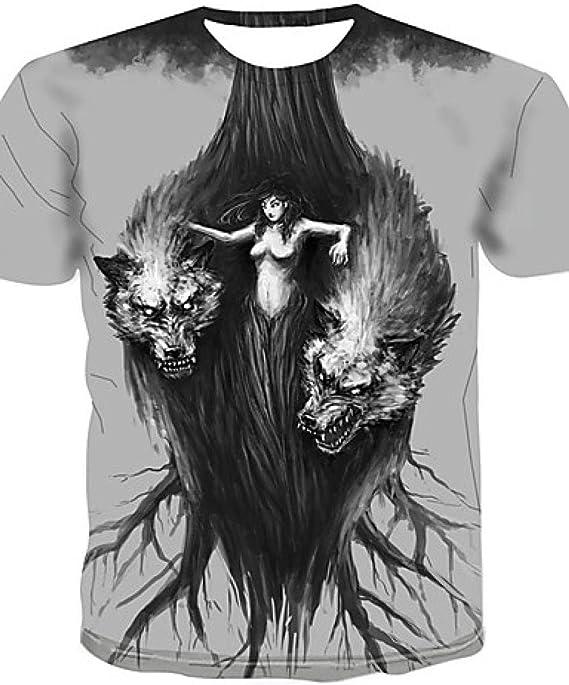 Camiseta para Hombre - 3D / Animal/Estampado de Dibujos Animados Cuello Redondo Gris Claro XXXXL @ Light_Gray_XXL: Amazon.es: Ropa y accesorios