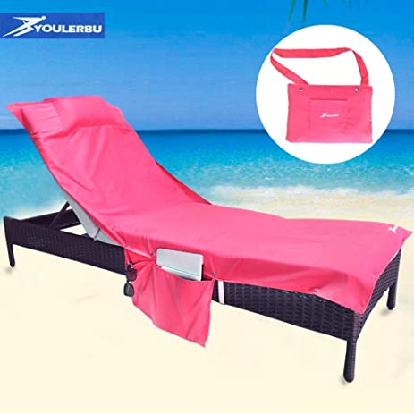 Amazing Beach Chair Cover Towel For Chaise Lounge Chair, Pool. Sunbathing, Hotel  With Convenient