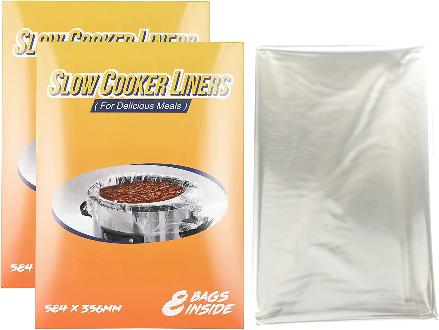 16 Counts Slow Cooker Liners and Multiuse Cooking Bags, Large Size Fits 4QT- 8.5QT Pot,BPA Free Suitable for Oval & Round Pot